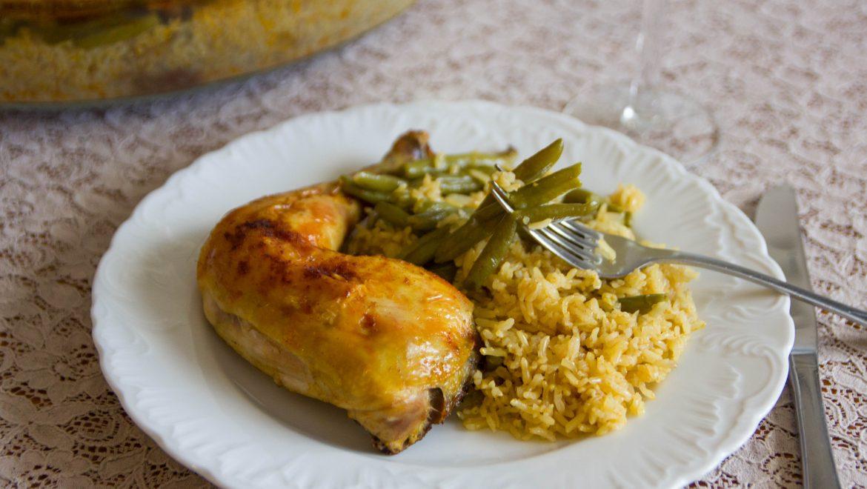 עוף עם אורז ושעועית בתבנית אחת